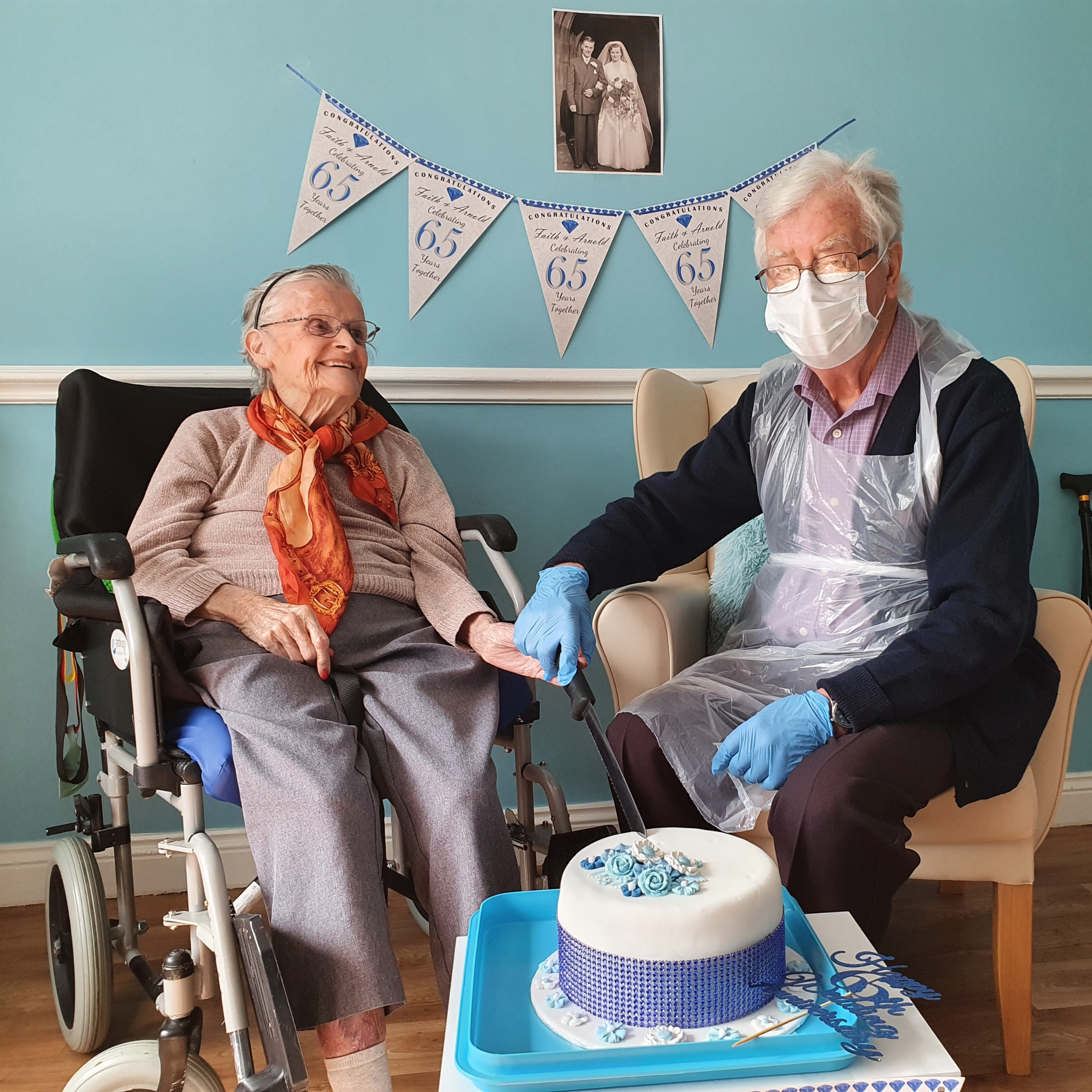 The Fountains Care Centre resident Faith Yorke, aged 87, and husband Arnold aged 87, celebrating their sapphire wedding anniversary at the home in Swinton.